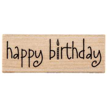 Happy Birthday Candle Rubber Stamp